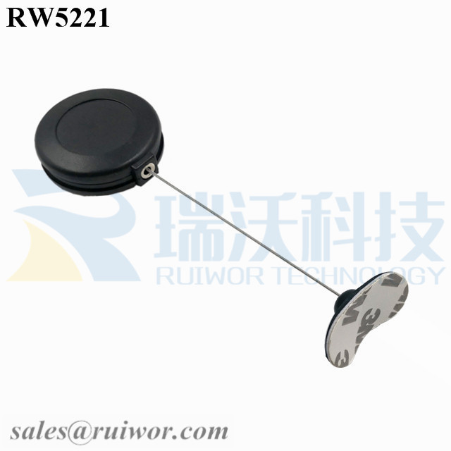 RW5221 Round Anti Theft Retractor Plus 33x19MM Oval Sticky Flexible Rubber Tips