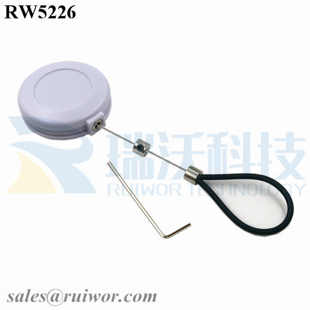 RW5226 Round Anti Theft Retractor Plus Adjustable Stainless Steel Wire Loop Coated Silicone Hose