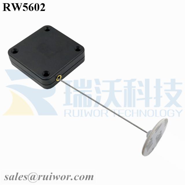 RW5602-Retractable-Rope-Reel-Black-Box-With-Diameter-30mm-Circular-Adhesive-ABS-Plate