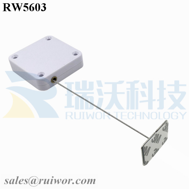RW5603 Square Heavy Duty Retractable Cable Plus 35X22mm Rectangular Adhesive metal Plate