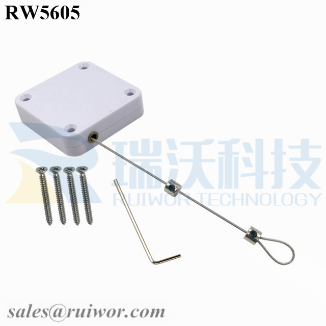 RW5605 Square Heavy Duty Retractable Cable Plus Adjustalbe Lasso Loop by Small Lock and Allen Key Forces MAX 2.5LB Longest 6M