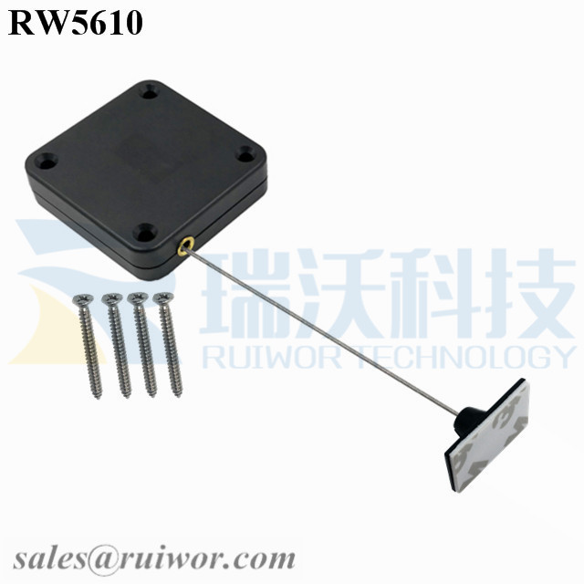 RW5610 Square Heavy Duty Retractable Cable Plus 25X15mm Rectangular Adhesive ABS Plate