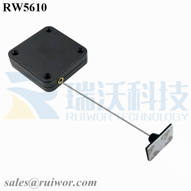 RW5610-Retractable-Rope-Reel-Black-Box-With-25X15mm-Rectangular-Adhesive-ABS-Plate