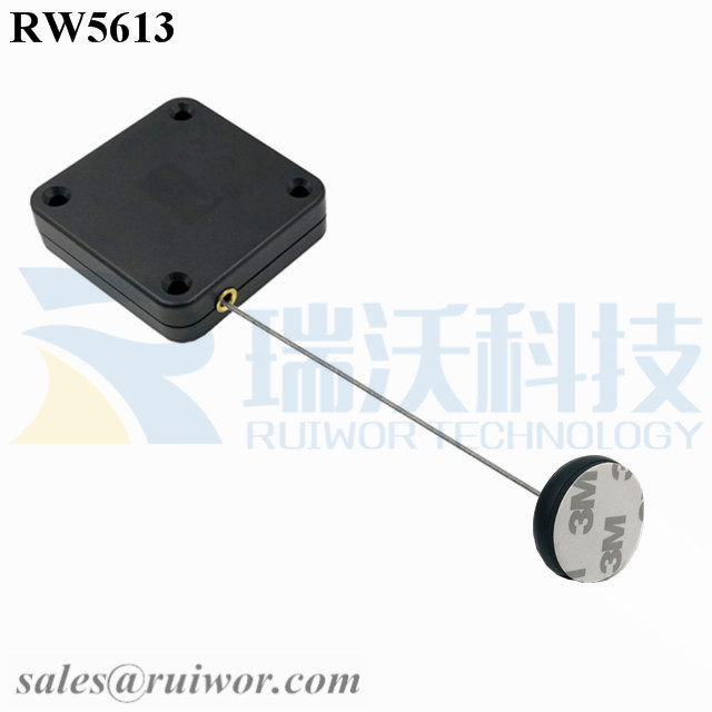 RW5613 Square Heavy Duty Retractable Cable Plus Dia 30MMx5.5MM Circular Adhesive ABS Block