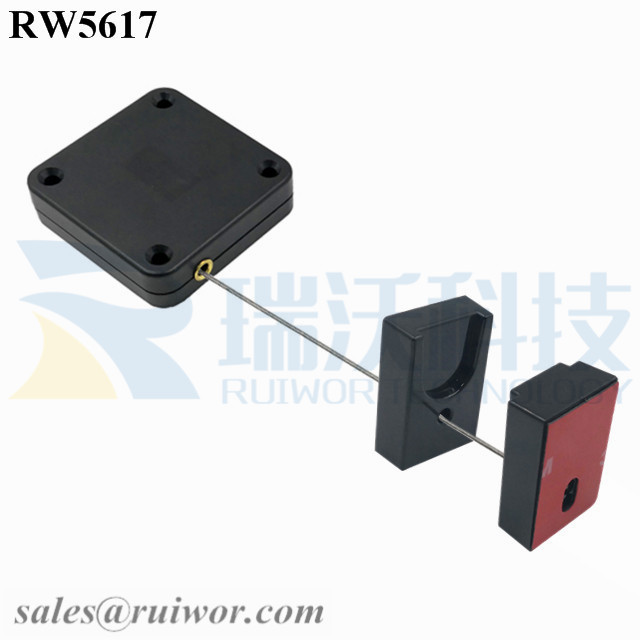RW5617 Square Heavy Duty Retractable Cable Plus Magnetic Clasps Cable Holder