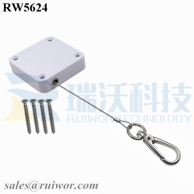 RW5624 Square Heavy Duty Retractable Cable Plus Key Hook
