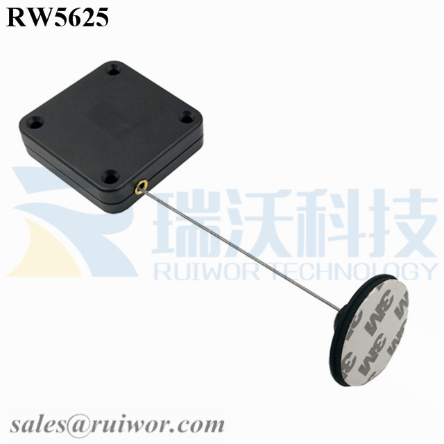 RW5625 Square Heavy Duty Retractable Cable Plus Dia 38mm Circular Adhesive Plastic Plate