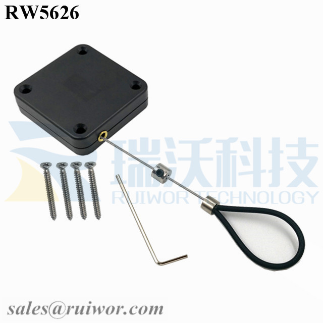 RW5626 Square Heavy Duty Retractable Cable Plus Adjustable Stainless Steel Wire Loop Coated Silicone Hose