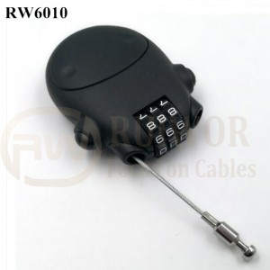 Good Quality Locking Retractable Key Chain - RW6010 Travel safe Secure retractable Stainless steel wire rope plastic 3 digit combination Luggage lock – Ruiwor