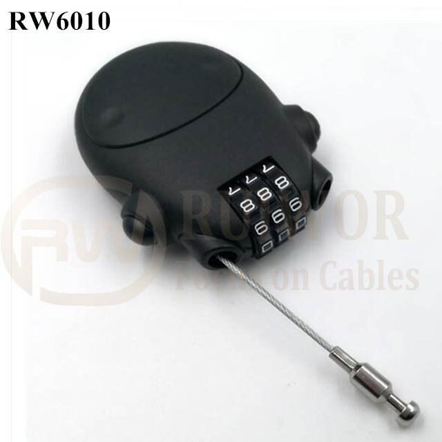 RW6010 Travel safe Secure retractable Stainless steel wire rope plastic 3 digit combination Luggage lock