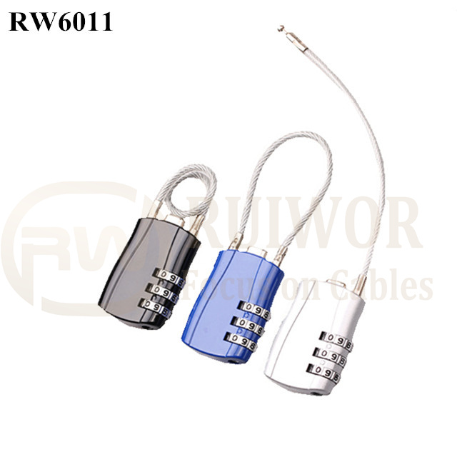 RW6011 Travel safe Secure retractable Stainless steel wire cable lock Custom lock combination lock
