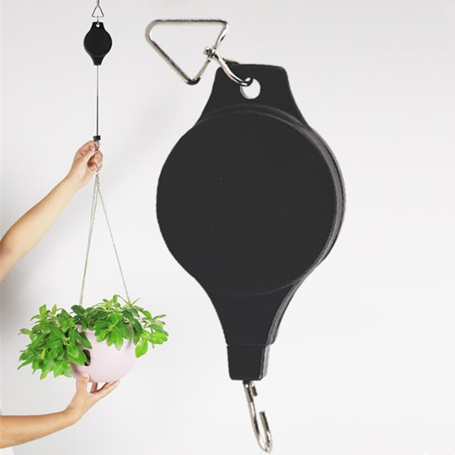 Retractable Pulley Hanging Basket Pull Down Hanger to 20cm-90cm Garden Plastic Baskets Pot hanger load max weight 15kg